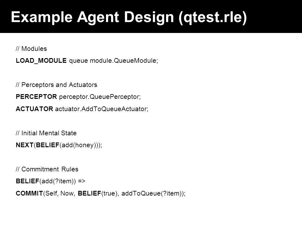 2003 © ChangingWorlds Ltd. Example Agent Design (qtest.rle) // Modules LOAD_MODULE queue module.QueueModule; // Perceptors and Actuators PERCEPTOR per