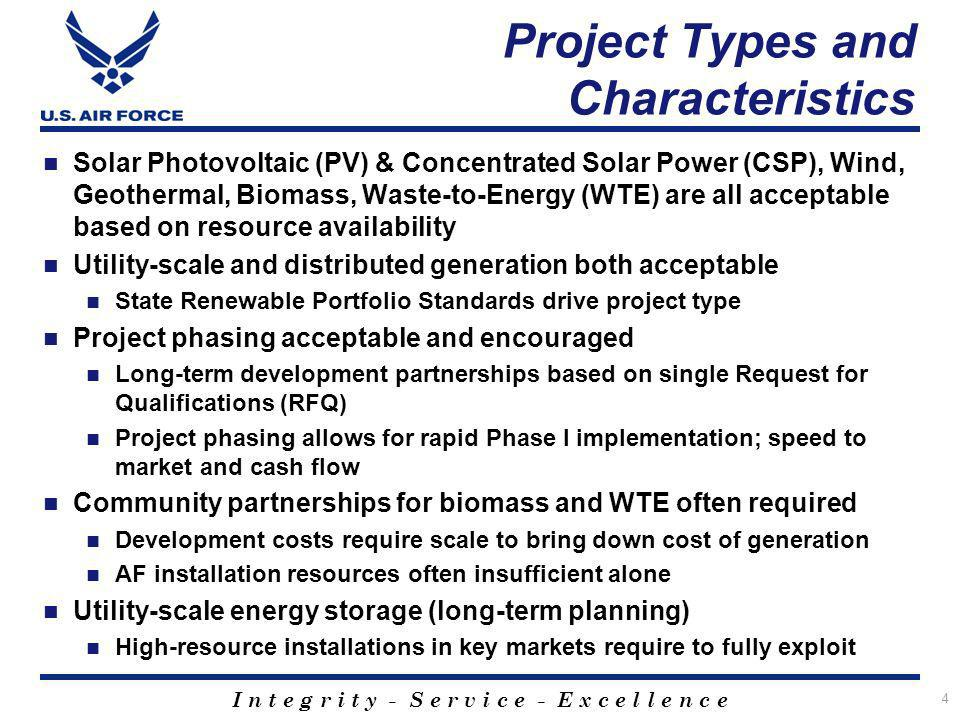 I n t e g r i t y - S e r v i c e - E x c e l l e n c e Project Types and Characteristics Solar Photovoltaic (PV) & Concentrated Solar Power (CSP), Wi