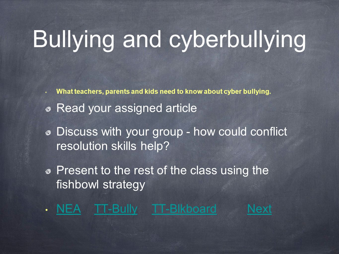 Bullying and cyberbullying What teachers, parents and kids need to know about cyber bullying.