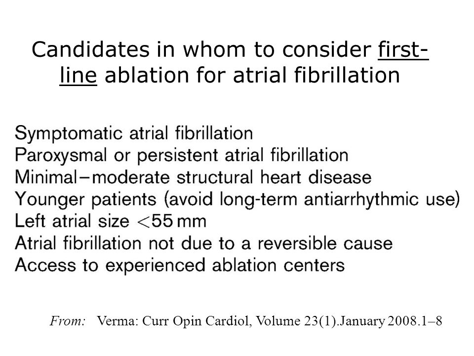 Candidates in whom to consider first- line ablation for atrial fibrillation From: Verma: Curr Opin Cardiol, Volume 23(1).January 2008.1–8