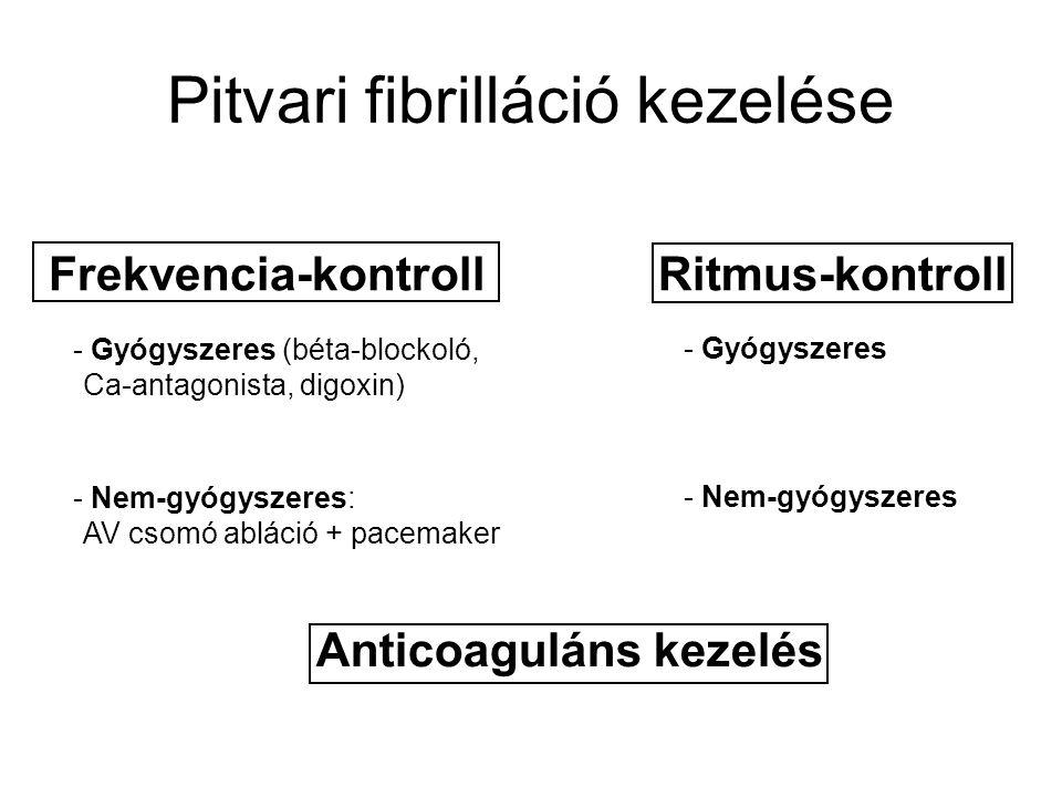 Pitvari fibrilláció kezelése Frekvencia-kontroll Ritmus-kontroll - Gyógyszeres (béta-blockoló, Ca-antagonista, digoxin) - Nem-gyógyszeres: AV csomó ab