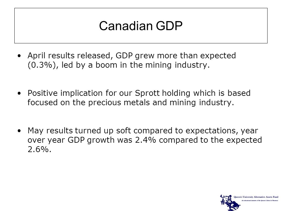 April results released, GDP grew more than expected (0.3%), led by a boom in the mining industry.