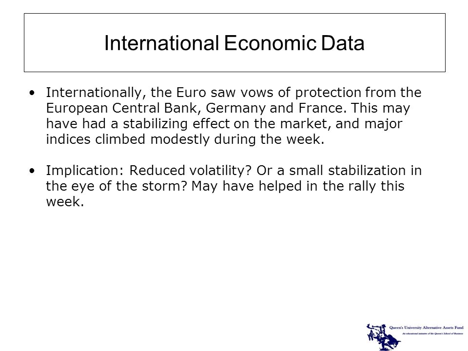Internationally, the Euro saw vows of protection from the European Central Bank, Germany and France.