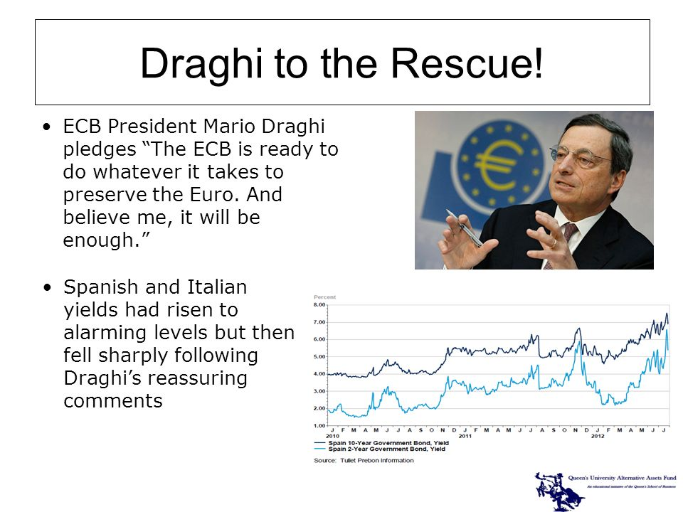 ECB President Mario Draghi pledges The ECB is ready to do whatever it takes to preserve the Euro.