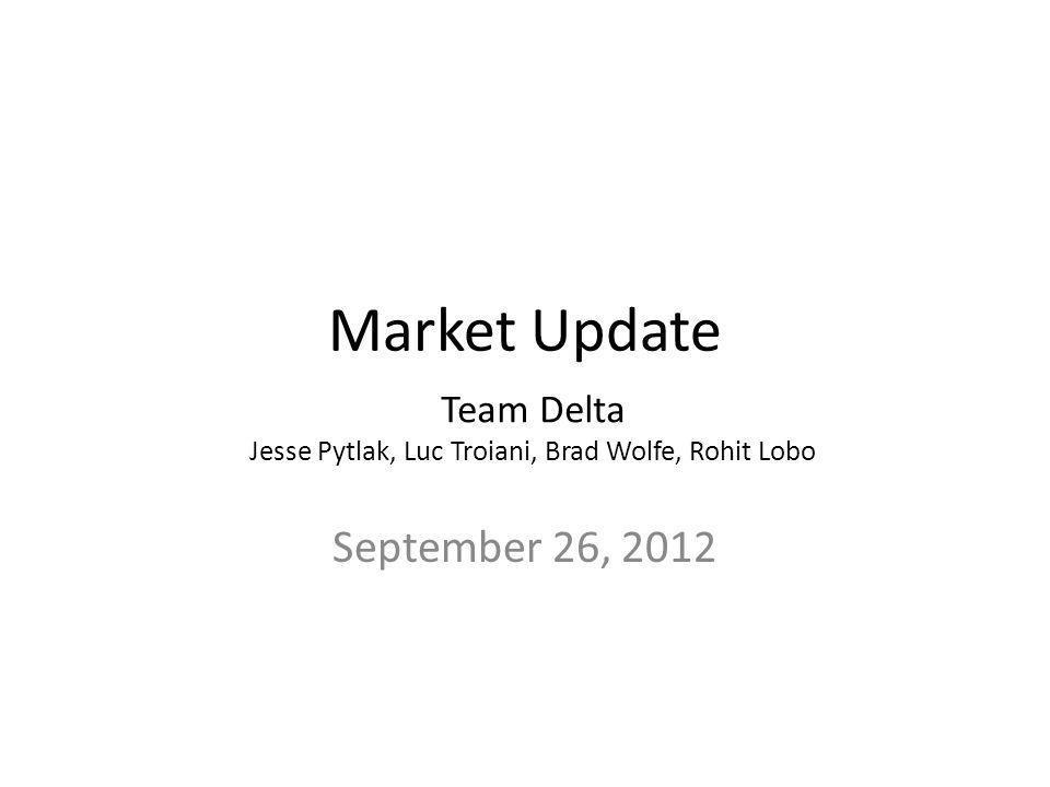 Market Update September 26, 2012 Team Delta Jesse Pytlak, Luc Troiani, Brad Wolfe, Rohit Lobo