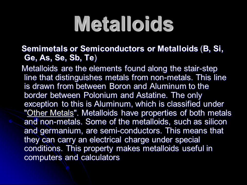 Metalloids Semimetals or Semiconductors or Metalloids (B, Si, Ge, As, Se, Sb, Te) Semimetals or Semiconductors or Metalloids (B, Si, Ge, As, Se, Sb, T