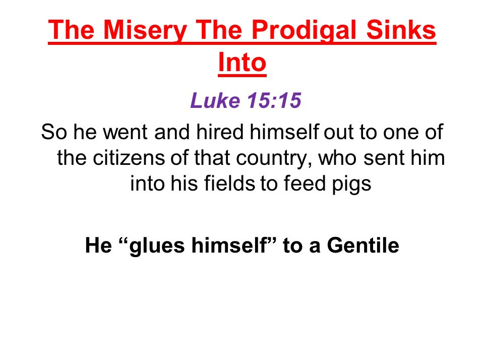The Misery The Prodigal Sinks Into Luke 15:15 So he went and hired himself out to one of the citizens of that country, who sent him into his fields to feed pigs He glues himself to a Gentile