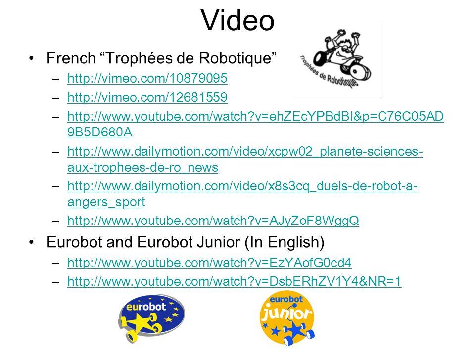 Video French Trophées de Robotique –http://vimeo.com/10879095http://vimeo.com/10879095 –http://vimeo.com/12681559http://vimeo.com/12681559 –http://www