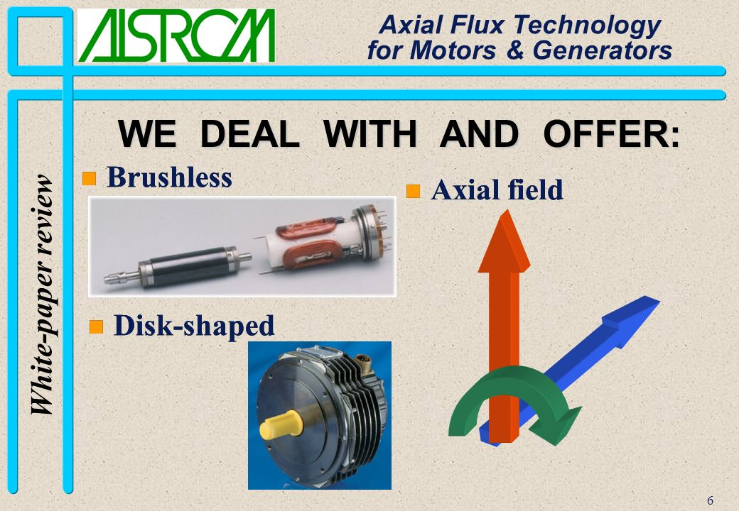 6 White-paper review Axial Flux Technology for Motors & Generators WE DEAL WITH AND OFFER: n Brushless n Disk-shaped n Axial field