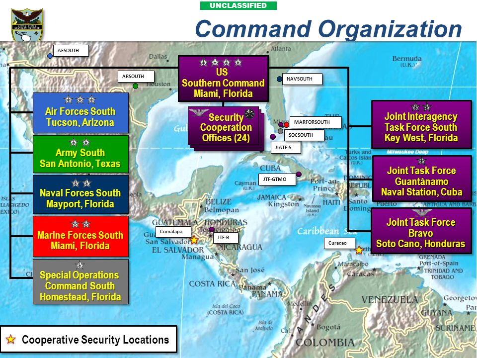 UNCLASSIFIED Command Organization Comalapa Air Forces South Tucson, Arizona Army South San Antonio, Texas Special Operations Command South Homestead,