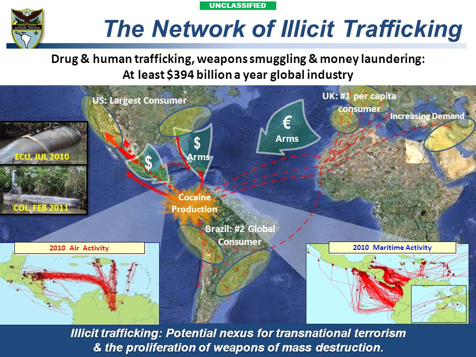 UNCLASSIFIED The Network of Illicit Trafficking $ $ Cocaine Production Illicit trafficking: Potential nexus for transnational terrorism & the prolifer