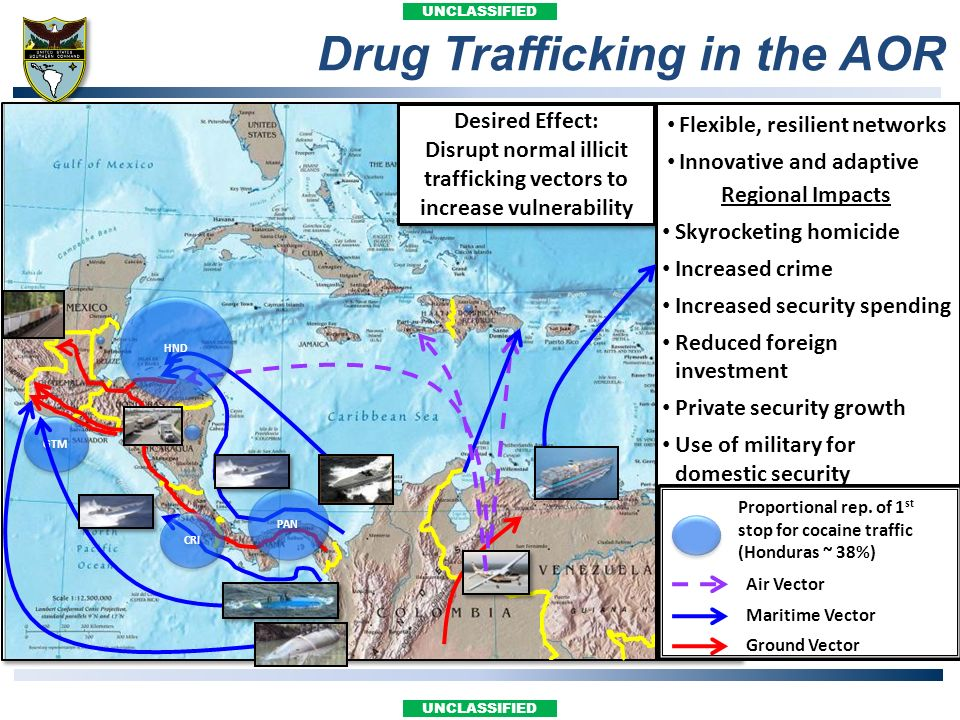 UNCLASSIFIED Drug Trafficking in the AOR Desired Effect: Disrupt normal illicit trafficking vectors to increase vulnerability Desired Effect: Disrupt