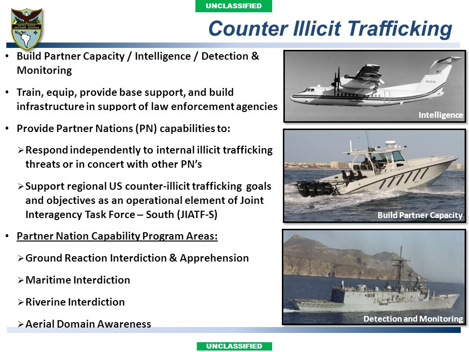 UNCLASSIFIED Build Partner Capacity / Intelligence / Detection & Monitoring Train, equip, provide base support, and build infrastructure in support of