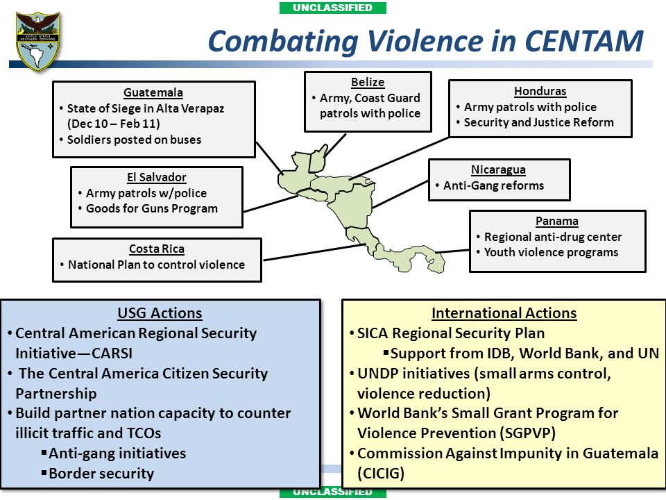 UNCLASSIFIED Combating Violence in CENTAM Honduras Army patrols with police Security and Justice Reform El Salvador Army patrols w/police Goods for Gu