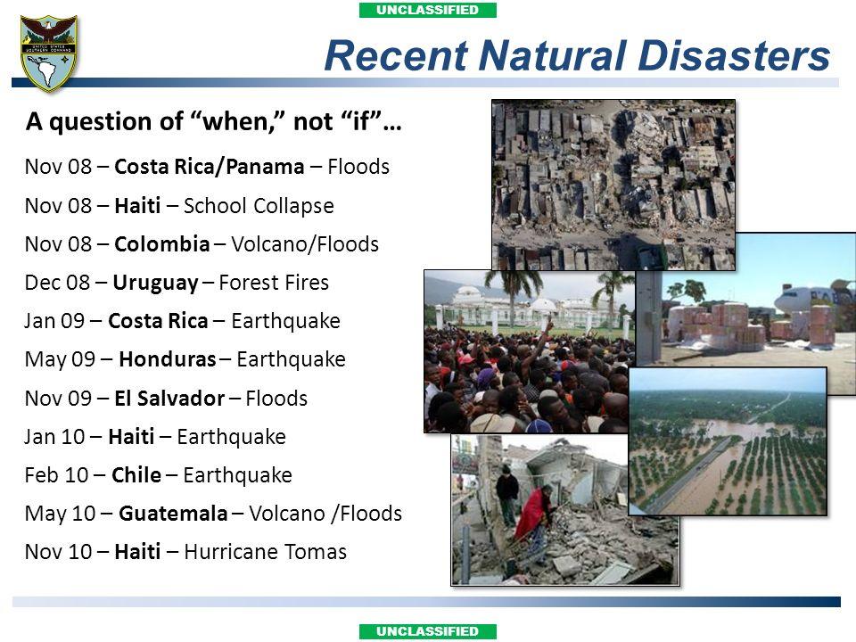 UNCLASSIFIED Nov 08 – Costa Rica/Panama – Floods Nov 08 – Haiti – School Collapse Nov 08 – Colombia – Volcano/Floods Dec 08 – Uruguay – Forest Fires J