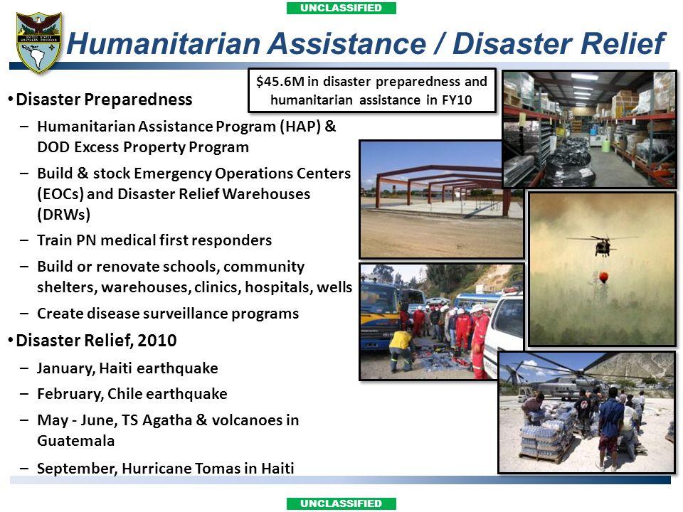 UNCLASSIFIED Humanitarian Assistance / Disaster Relief Disaster Preparedness –Humanitarian Assistance Program (HAP) & DOD Excess Property Program –Bui