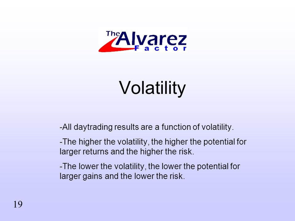 Volatility -All daytrading results are a function of volatility. -The higher the volatility, the higher the potential for larger returns and the highe