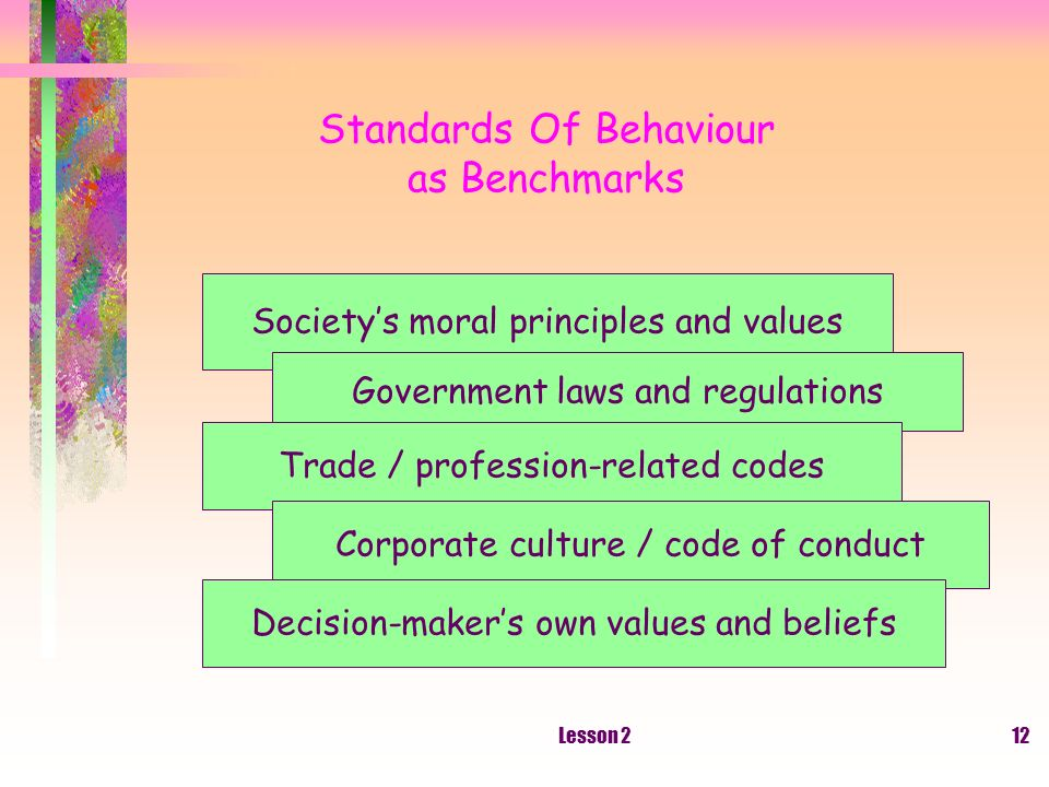Lesson 212 Standards Of Behaviour as Benchmarks Societys moral principles and values Government laws and regulations Trade / profession-related codes Corporate culture / code of conduct Decision-makers own values and beliefs