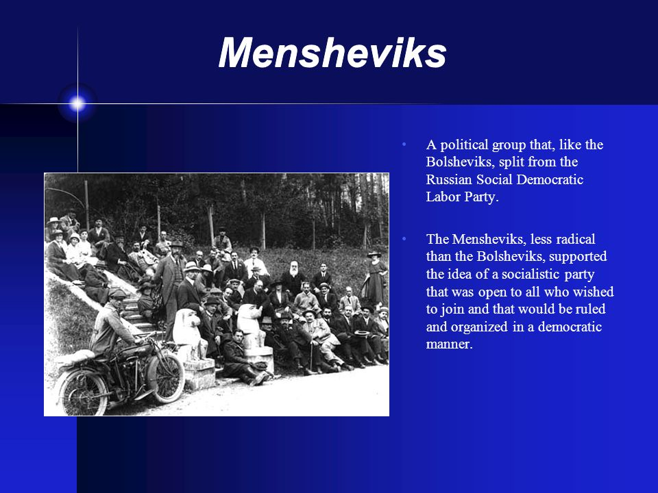 Mensheviks A political group that, like the Bolsheviks, split from the Russian Social Democratic Labor Party. The Mensheviks, less radical than the Bo
