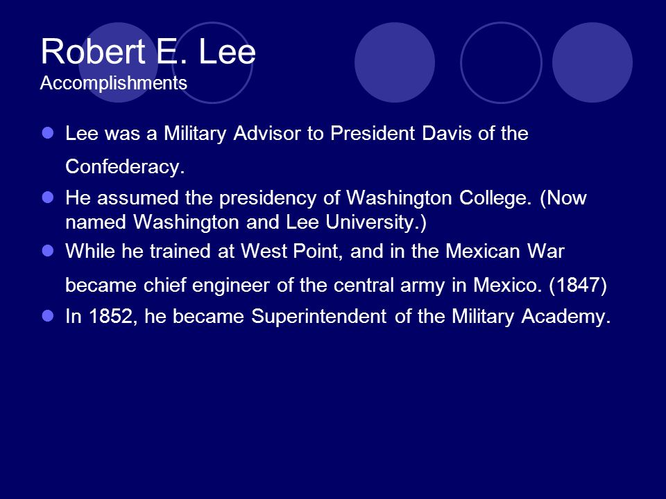 Robert E. Lee Accomplishments Lee was a Military Advisor to President Davis of the Confederacy.