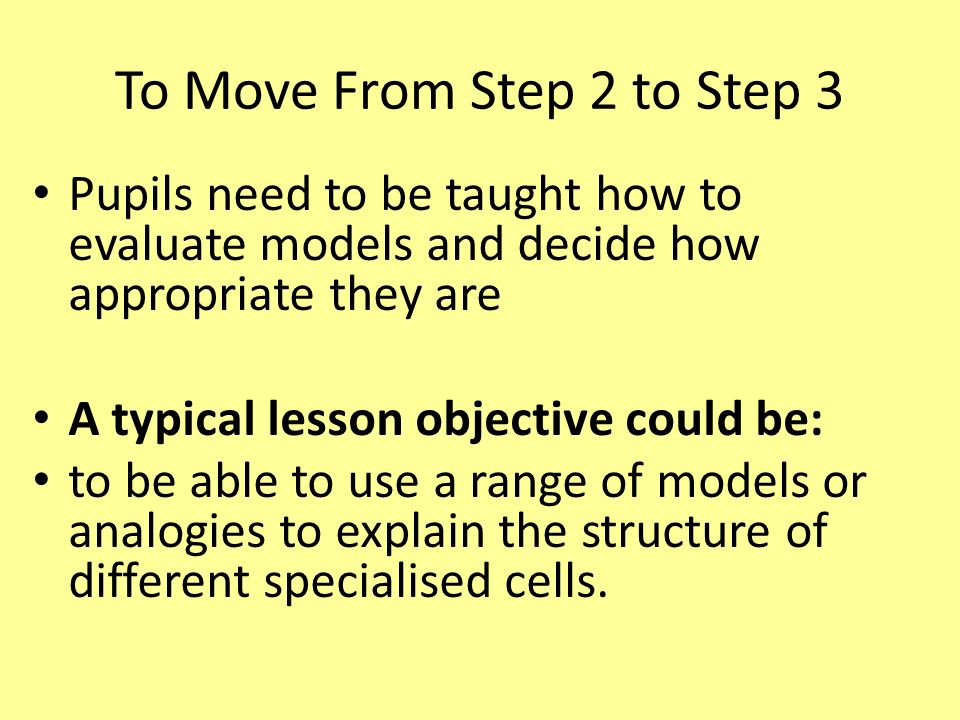 To Move From Step 2 to Step 3 Pupils need to be taught how to evaluate models and decide how appropriate they are A typical lesson objective could be: