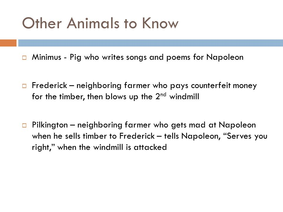 Other Animals to Know Minimus - Pig who writes songs and poems for Napoleon Frederick – neighboring farmer who pays counterfeit money for the timber,