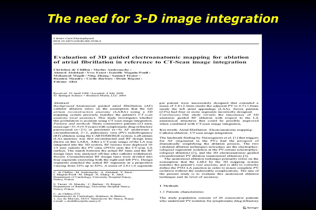 The need for 3-D image integration