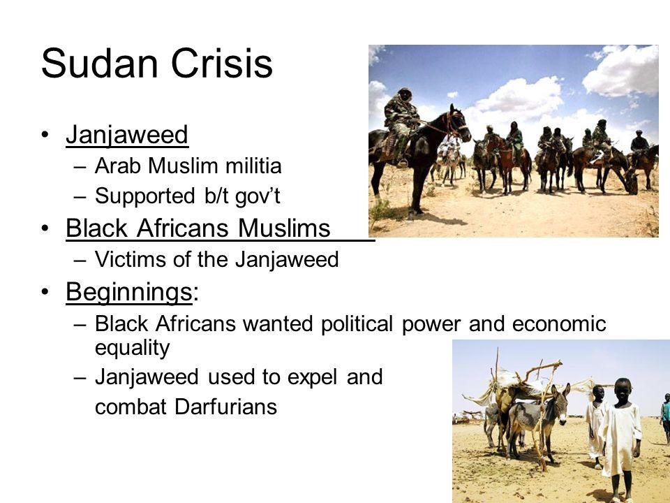Sudan Crisis Janjaweed –Arab Muslim militia –Supported b/t govt Black Africans Muslims –Victims of the Janjaweed Beginnings: –Black Africans wanted po