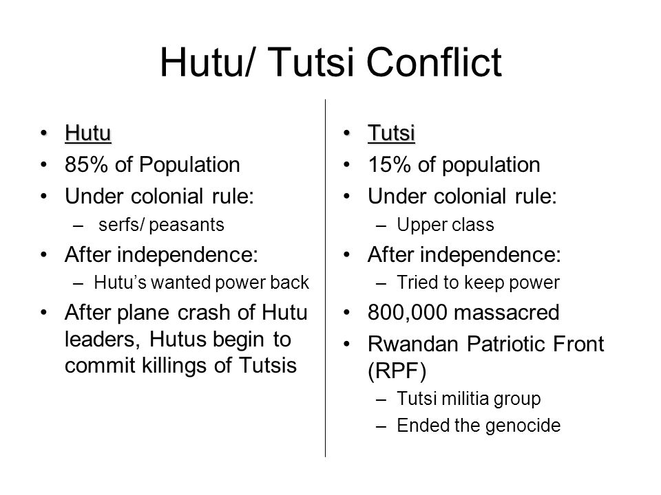Hutu/ Tutsi Conflict HutuHutu 85% of Population Under colonial rule: – serfs/ peasants After independence: –Hutus wanted power back After plane crash