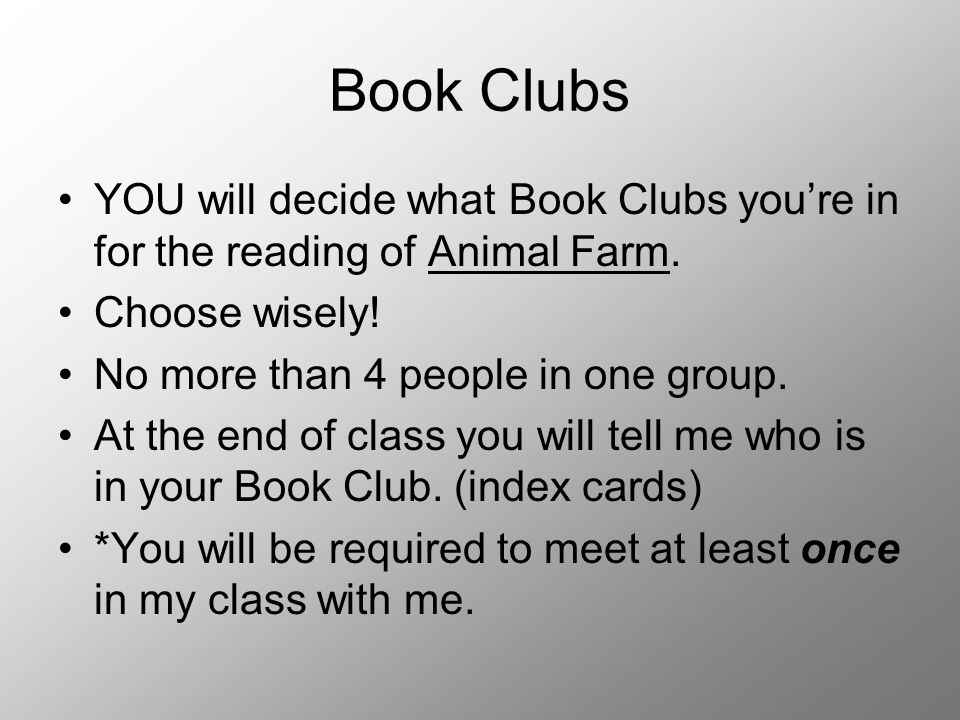 Reading Schedule With your Book Clubs, you will determine your reading schedule.