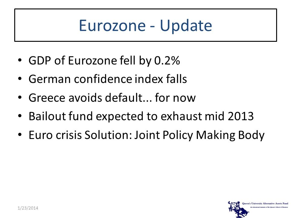 Eurozone - Update GDP of Eurozone fell by 0.2% German confidence index falls Greece avoids default... for now Bailout fund expected to exhaust mid 201