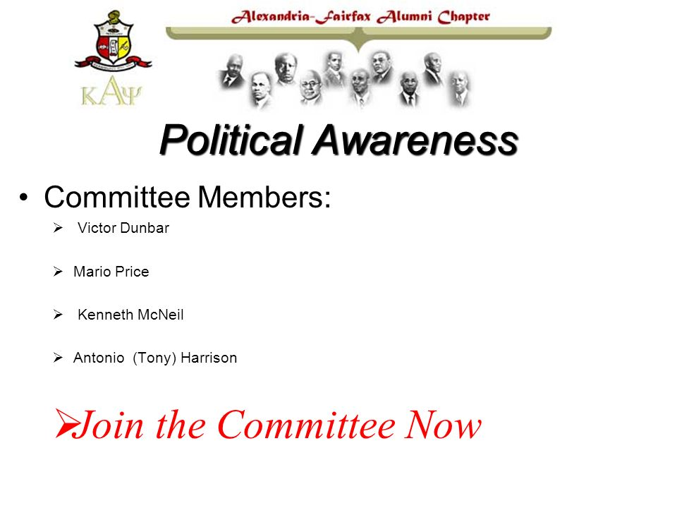 Committee Members: Victor Dunbar Mario Price Kenneth McNeil Antonio (Tony) Harrison Join the Committee Now