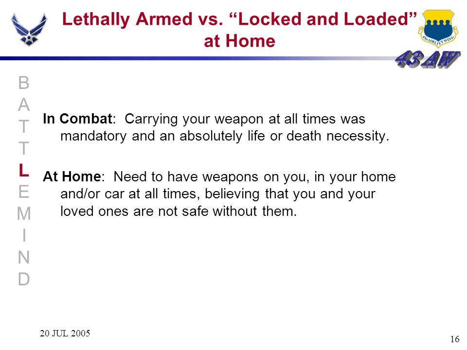 20 JUL 2005 16 Lethally Armed vs. Locked and Loaded at Home In Combat: Carrying your weapon at all times was mandatory and an absolutely life or death