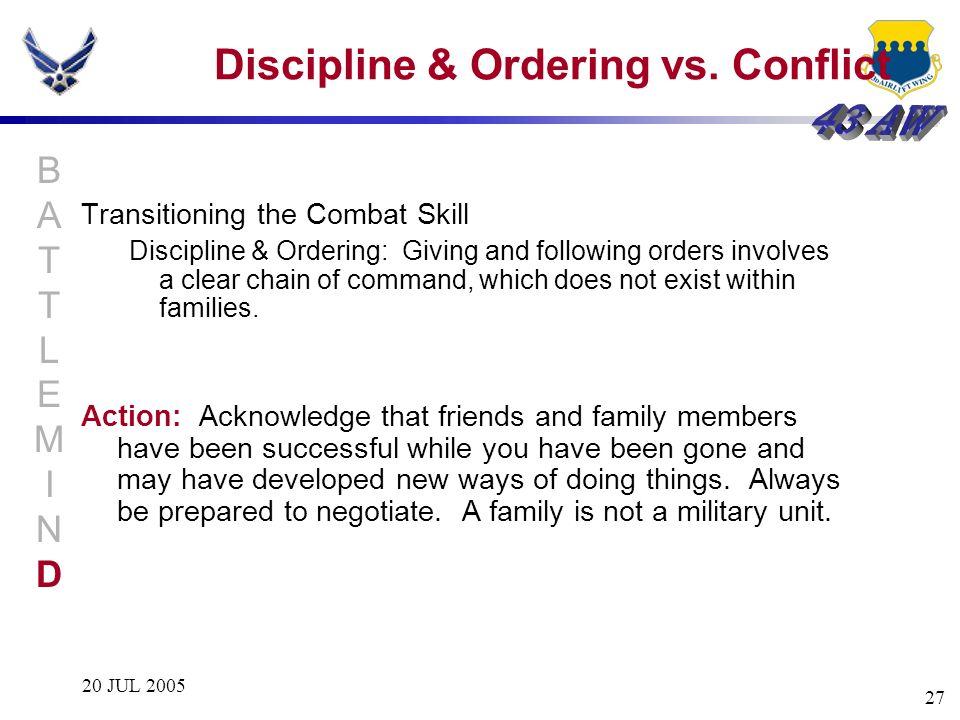 20 JUL 2005 27 Discipline & Ordering vs. Conflict Transitioning the Combat Skill Discipline & Ordering: Giving and following orders involves a clear c