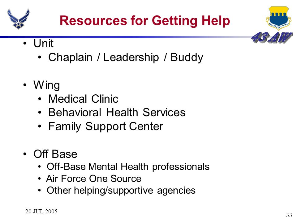 20 JUL 2005 33 Resources for Getting Help Unit Chaplain / Leadership / Buddy Wing Medical Clinic Behavioral Health Services Family Support Center Off