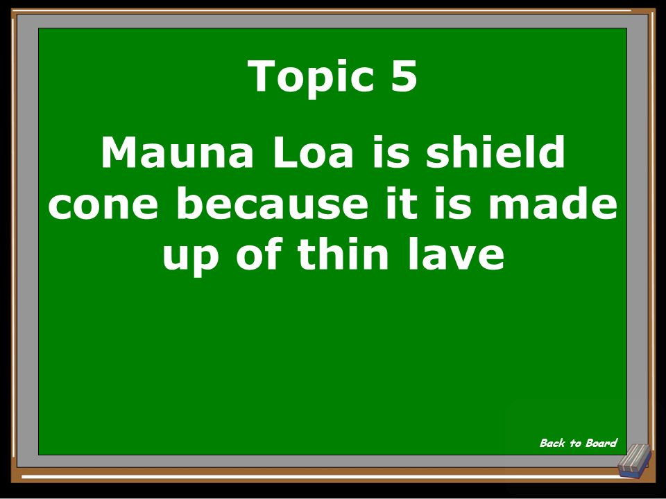 Topic 5 What kind of cone is Mauna Loa and why Show Answer