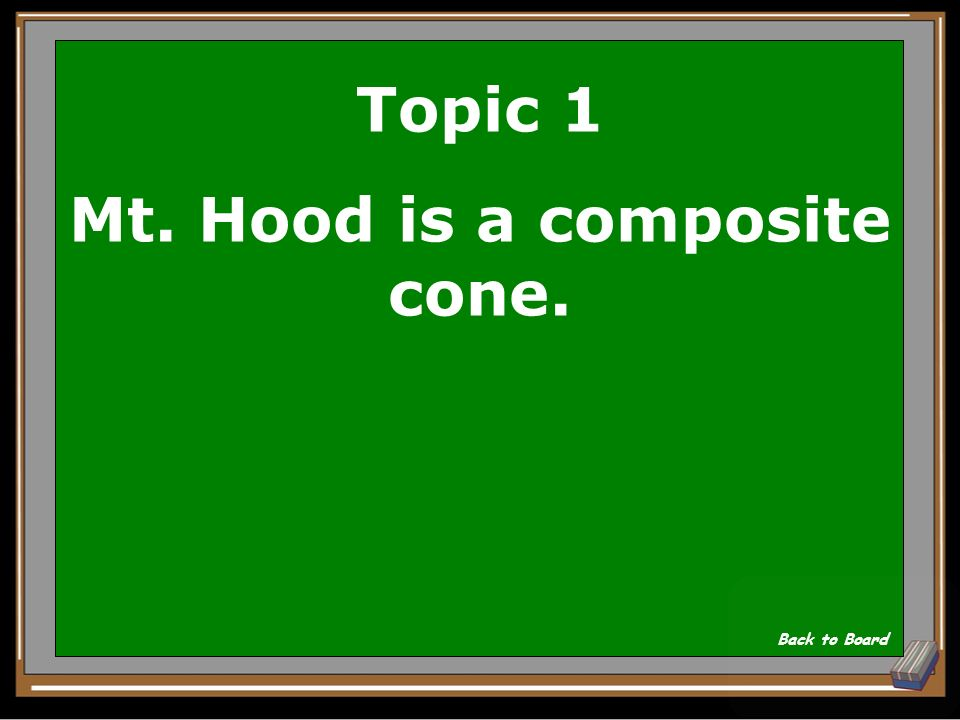 Topic 1 What kind of mountain is Mt. Hood A cinder, composite, or shield Show Answer