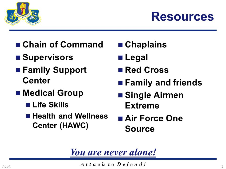 A t t a c k t o D e f e n d ! As of:18 Resources Chain of Command Supervisors Family Support Center Medical Group Life Skills Health and Wellness Cent