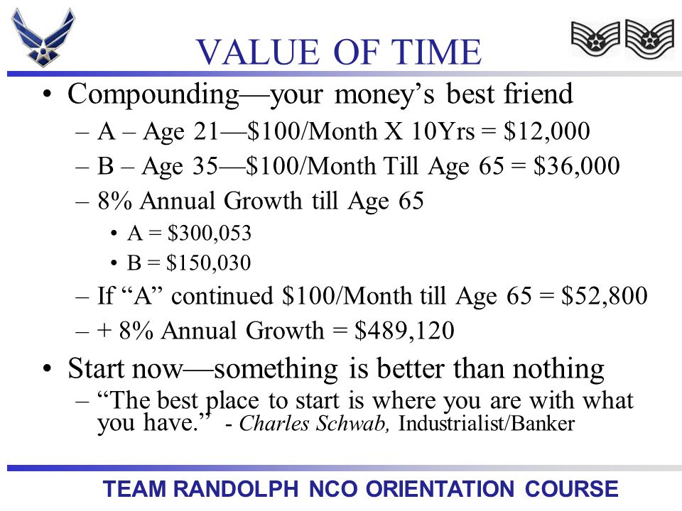 TEAM RANDOLPH NCO ORIENTATION COURSE Compoundingyour moneys best friend –A – Age 21$100/Month X 10Yrs = $12,000 –B – Age 35$100/Month Till Age 65 = $36,000 –8% Annual Growth till Age 65 A = $300,053 B = $150,030 –If A continued $100/Month till Age 65 = $52,800 –+ 8% Annual Growth = $489,120 Start nowsomething is better than nothing –The best place to start is where you are with what you have.