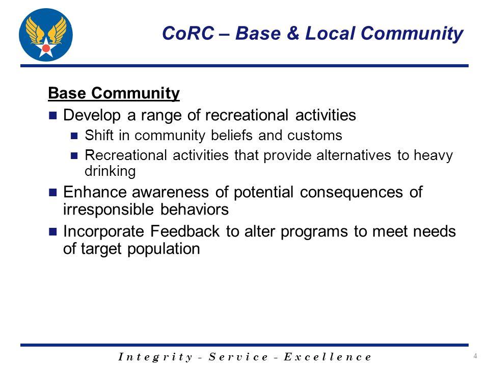 I n t e g r i t y - S e r v i c e - E x c e l l e n c e 15 CoRC – Base & Local Community