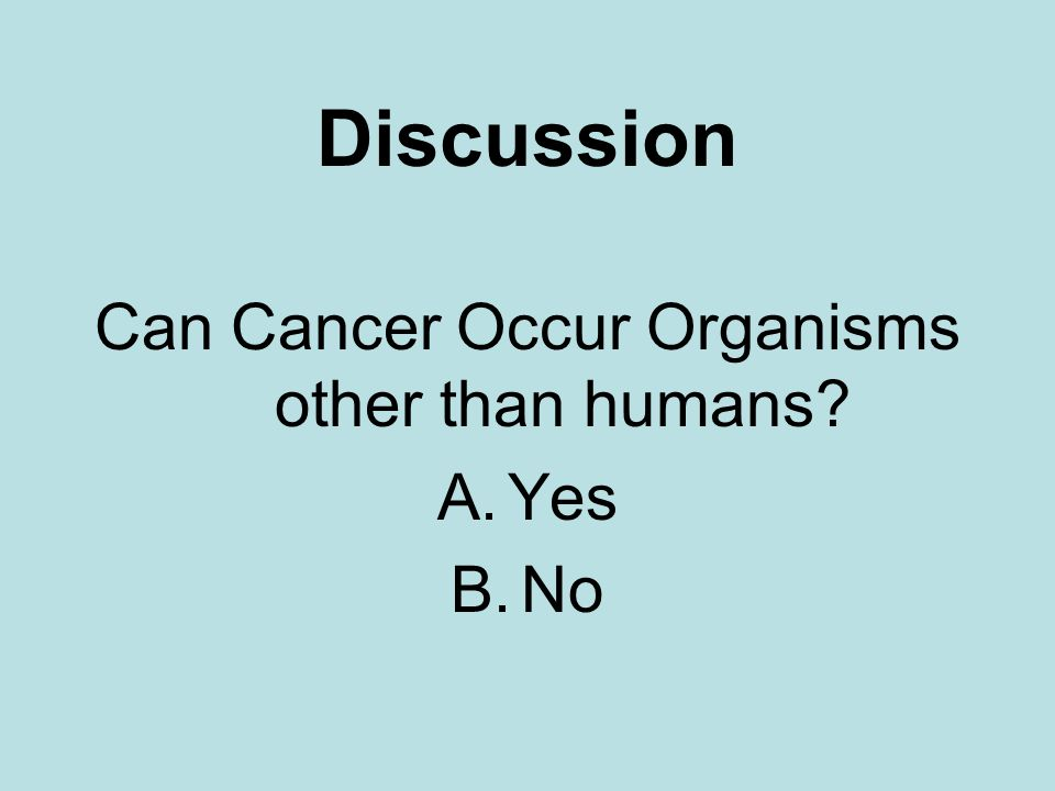 Discussion Can Cancer Occur Organisms other than humans? A.Yes B.No