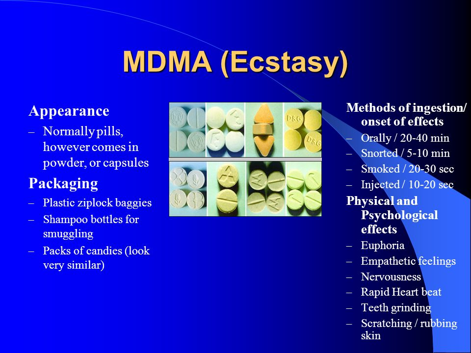 MDMA (Ecstasy) Appearance – Normally pills, however comes in powder, or capsules Packaging – Plastic ziplock baggies – Shampoo bottles for smuggling –