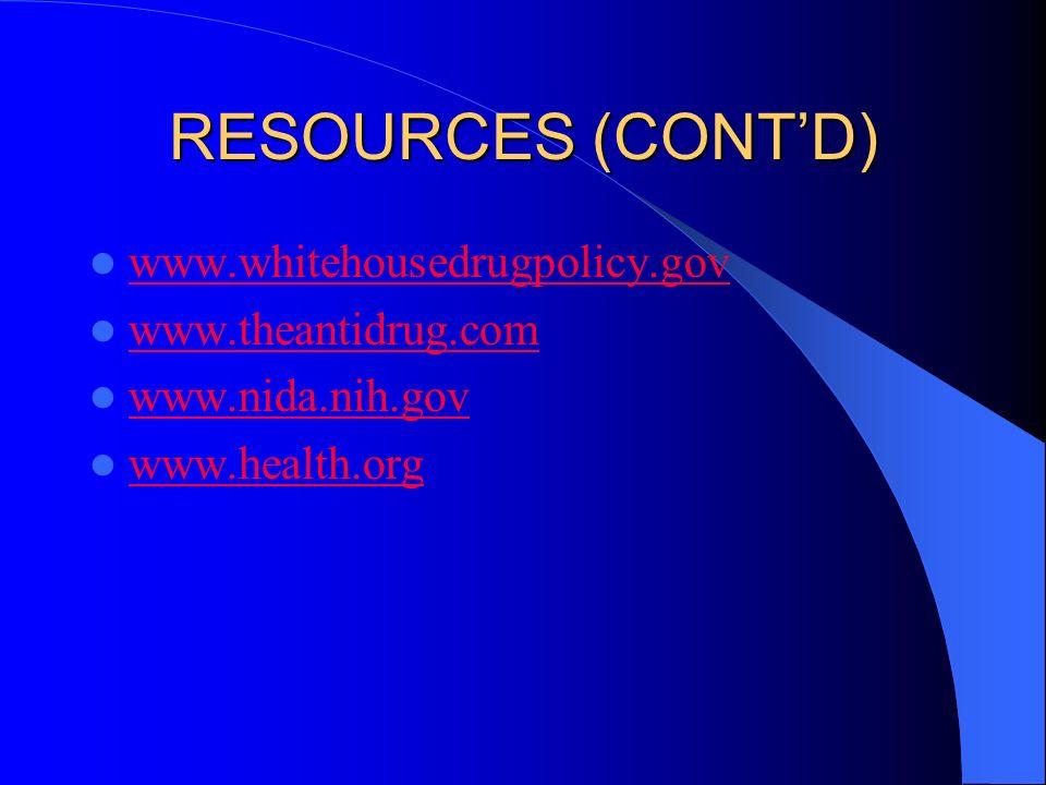 RESOURCES (CONTD) www.whitehousedrugpolicy.gov www.theantidrug.com www.nida.nih.gov www.health.org
