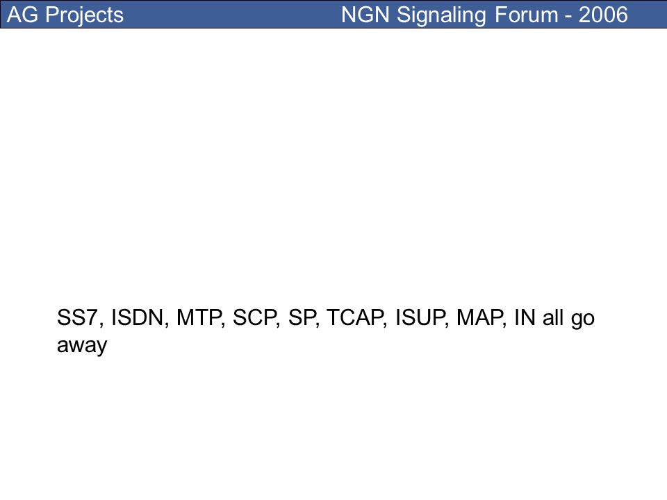 AG Projects NGN Signaling Forum - 2006 From the old PSTN ONLY the E.164 numbering plan remains