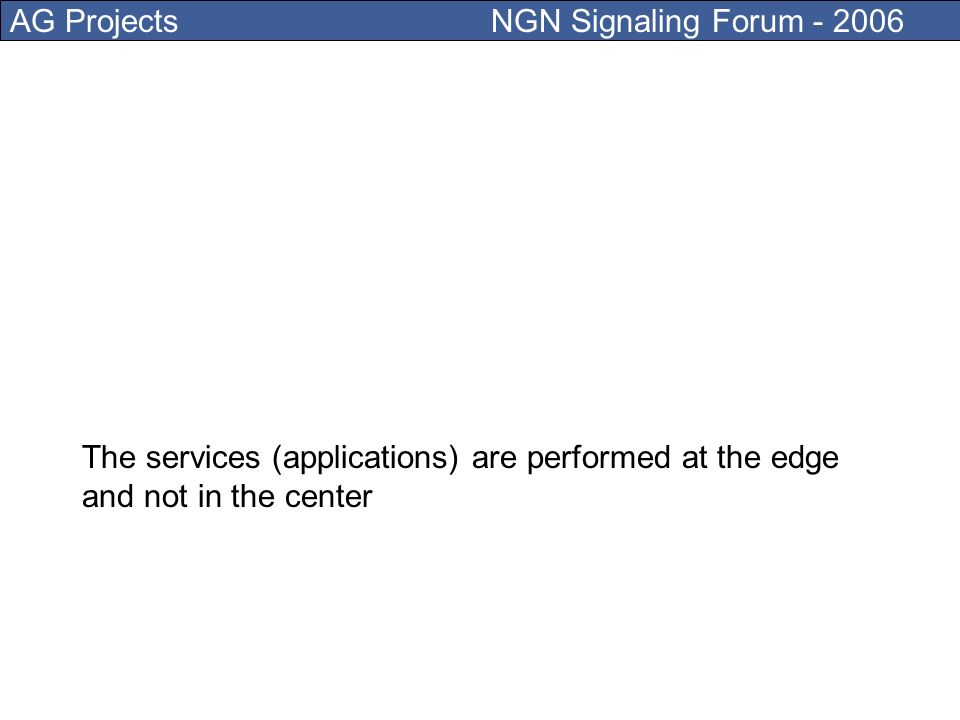 AG Projects NGN Signaling Forum - 2006 Internet, a dumb network Its role is merely to deliver packets from A to B