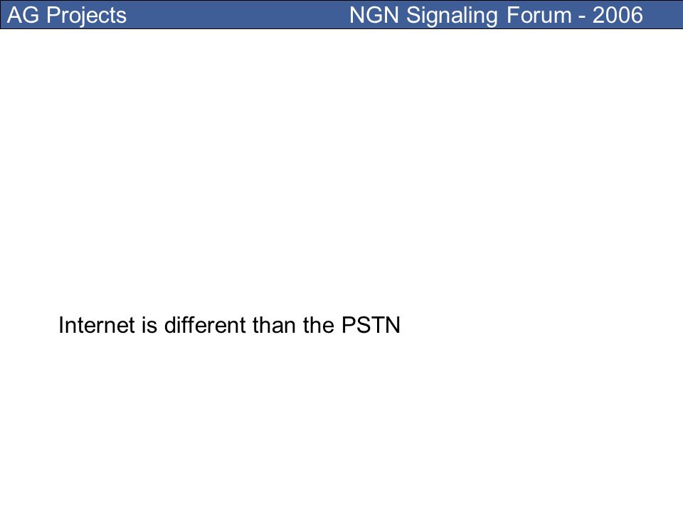AG Projects NGN Signaling Forum - 2006 DNS (Domain Name System) provides naming and addressing for the Internet