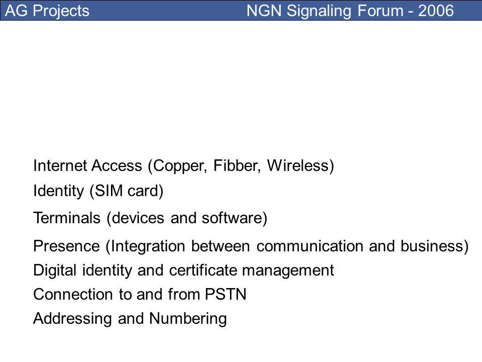 AG Projects NGN Signaling Forum - 2006 What can you offer them in the NGN context?