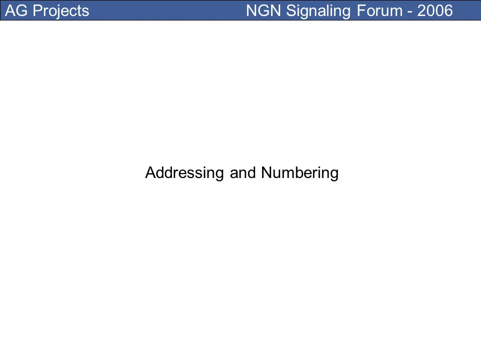 AG Projects NGN Signaling Forum - 2006 Internet Access (Copper, Fibber, Wireless) Identity (SIM card) Terminals (devices and software) Presence (Integration between communication and business) Digital identity and certificate management Addressing and Numbering Connection to and from PSTN