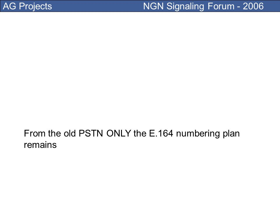 AG Projects NGN Signaling Forum - 2006 In PSTN the intelligence is at the center and the end- device is dumb