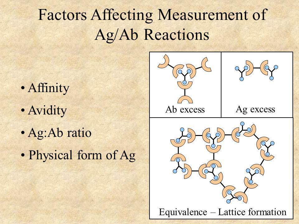 Tests Based on Ag/Ab Reactions All tests based on Ag/Ab reactions will have to depend on lattice formation or they will have to utilize ways to detect small immune complexes All tests based on Ag/Ab reactions can be used to detect either Ag or Ab